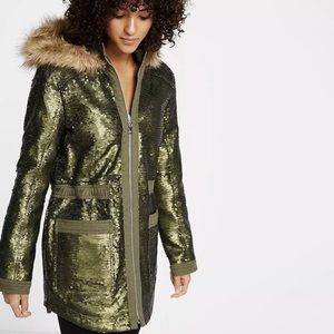 Express sequin parka coat fur hood heavy glamour